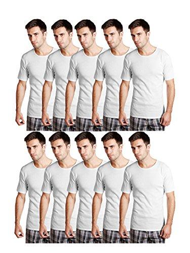 Essar Mens 100% Cotton White Vest Innerwear half sleeve Combo of 10 Pack (EssarWhiteHalfSleeve10-95Cm)