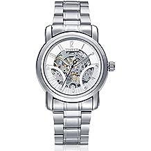 Time100 W60041G.01A moderno automático para hombre correa de acero  inoxidable esqueleto reloj mecánico 13cc5289c2c4
