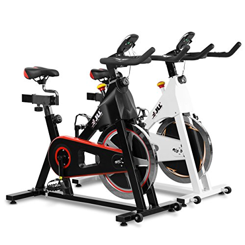 JLL® IC300 Indoor Exercise Bike 2018, Cardio Workout, 18kg Flywheel Smooth Cycling, Adjustable Handlebars & Seat, Heart Rate Sensors & 6-Function Monitor + Pulse (Black).