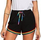 Tomatoa Damen Regenbogen Trainieren Kurze Hose Sommer Strand Hot Pants Damen Sport Yoga Elastische Shorts Elastisch Boy Retro Shorts (Schwarz, M)