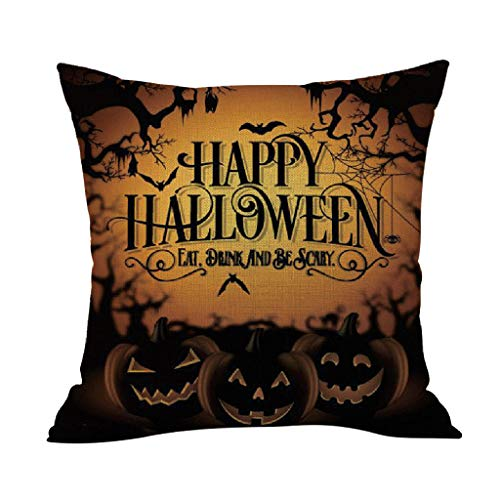 Junjie Halloween Kissenbezug Kissenbezug Home Decoration Leinen Halloween Leinen Kissenbezug Halloween-Dekoration