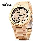 Bewell ZS- W065A Natural Wooden Watches Men Quartz Watch Wrist Watch Strap Luminous Pointers (Light yellow)