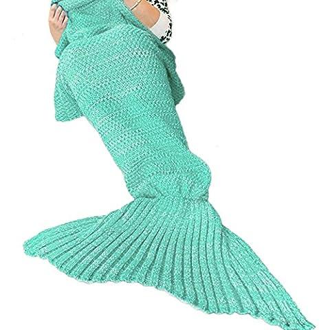 Manta de la cola de la sirena para los adultos Hecho a mano Tejido cálido salón sofá lanza perfecto manta de regalo de Navidad 190cmX90cm (adultos, H-1-Menta verde)