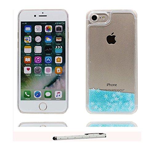 iPhone 7 Plus Custodia, Copertura iPhone 7 Plus, [ Liquido che scorre nuoto divertente Sparkle Bling trasparente protezione completa anti-gra] [ blu ] Cover iPhone 7 Plus Case penna di tocco # # 3