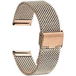 TRUMiRR 18mm Bracelet Bracelet en Acier Inoxydable pour 36mm Daniel Wellington, Huawei Watch, ASUS ZenWatch 2 WI502Q des Femmes, Withings Activite/Acier/Pop, Fossil Q Tailor, Nokia Steel HR 36mm