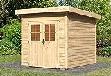 Karibu Woodfeeling Gartenhaus Tolkin 2 natur 28 mm Außenmaß (B x T): 274 x 244 cm Dachstand (B x T): 306 x 268 cm Wandstärke: 28 mm umbauter Raum: 13,6 cbm Bauweise: Systembauweise Ausführung: naturbelassen