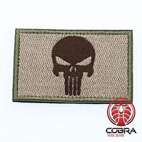 Punisher Patch Tactical Army Morale Emblem Totenkopf Schwarz grün braun mit Klettverschluss Airsoft
