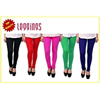 Combo of-5 Ultra Soft Cotton/Lycra Churidar Basic Solid Regular and Plus 30 types of pair Best Seller Leggings for Womens and Girl- Free Sizes Fit to waist between 26 Inch-34 Inch, BLACK-RED-PINK-GREEN-BLUE