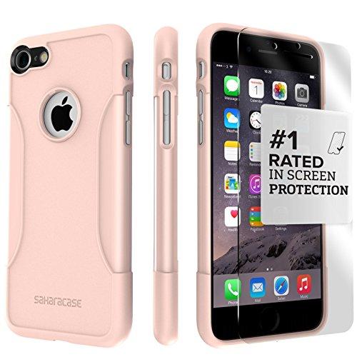 Funda iPhone 7, SaharaCase® de protection Kit Bundle [Protector de pantalla ZeroDamage® en Vidrio Templado] Acabado de primera calidad [renforcé antichoc Bumper] Protection robuste (Rosa Dorado)