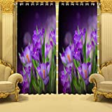 #8: B7 Creations 1-Piece Polyester Knitted Floral Digital Printed Curtain for Door – 7 Feet, 1 Curtain
