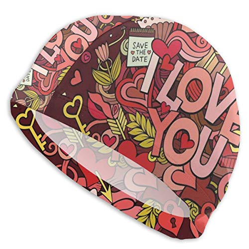 astic Swimming Hat Diving Caps,Retro Funky I Love You Quote Hearts Arrows Baloons Birhday Valentines,for Men Women Youths ()