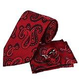PH1033 Designer Inspired Red Florals Pattern Silk Mens Necktie Cufflinks and Handkerchiefs Set with Gift Box Set By Epoint