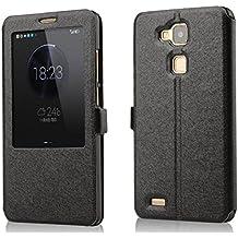 Prevoa ® 丨 Huawei Mate 7 Funda - Flip PU S- View Funda Cover Case para para Huawei Ascend Mate 7 6.0 Pulgadas Smartphone - Negro