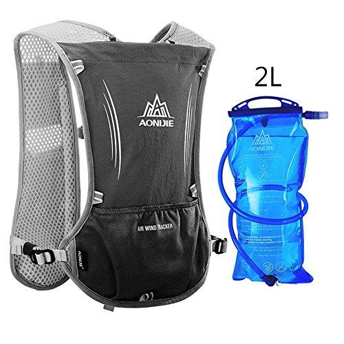 Imagen de aonijie upgrade hidratación ciclismo chaleco reflectante marathoner pack  con vejiga 2l agua deporte al aire libre carrera, negro