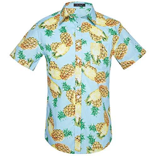 CHZDCS Shirt Men Hawaiian Beach Wind Shirt Short Sleeve Floral Print Mens Formal Shirts Casual Slim Fit Tops S Sky Blue (Blue Floral Print Top)