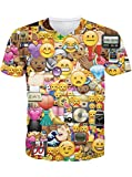 Leapparel Funny Emoji Cara Impreso Graphic V Cuello Camiseta Tops Para Hombres