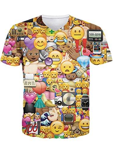 Leapparel Herren Cool Entworfen 3D Druck V-Ausschnitt Kurzarm T-Shirts Tees Tops Funny Emoji