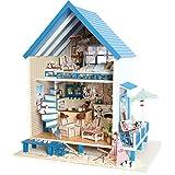 DIY de madera casa de muñecas hecha a mano miniatura Kit Modelo de playa planta Villa & muebles/caja de música