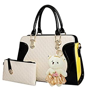 Coofit Leather Handbag Messenger Bag for Ladies + Small Bag+Bear Key Chain+postcard