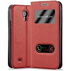 Cadorabo Coque pour Samsung Galaxy S4 Mini en Rouge Safran - Housse Protection avec Stand Horizontal, Fente Carte et Deux Fenêtres - View Etui Poche Folio Case Cover