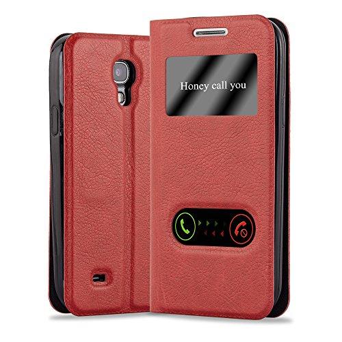 Preisvergleich Produktbild Cadorabo Hülle für Samsung Galaxy S4 - Hülle in Safran ROT – Handyhülle im Standfunktion und 2 Fenstern (View Design) - Case Cover Schutzhülle Etui Tasche Book Klapp Style