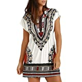 Hot! Damen Kleid Yesmile Frauen Damen Vintage Bohemian Strandtunika Sommerkleid Tunikakleid Bluse Strandkleid Minikleid Kleider (L, Weiß)