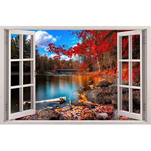 Efecto 3D Pegatinas de Pared para la ventana Otoño Etiqueta de Vinilo del Lago Decoración de Vinilo Mural Foto Wallpaper Home Decor Regalo 60 * 90 cm