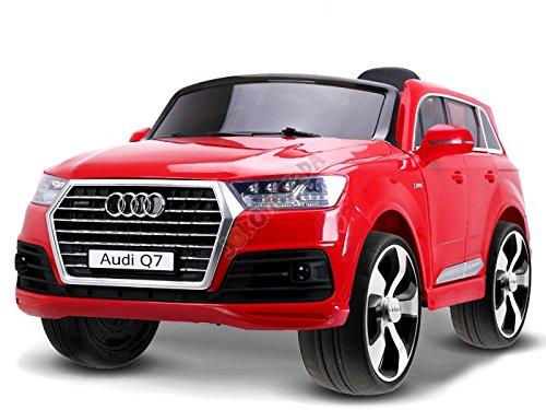 ELEKTROAUTO KINDER AUTO AUDI Q7 QUATTRO ( ROT ) 2 x 12W - 45W Motor + 1 x wiederaufladbare Batterie (12V 7Ah) + PILOT für Eltern 2.4Ghz. / Perfekt für Geschenk