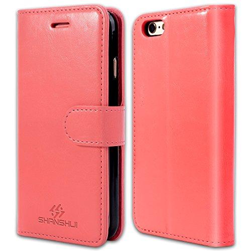 iPhone 6 Hülle, 6S Schutzhülle, SHANSHUI Kunstleder TPU Handyhülle mit Magnetverschluss und Kartenfach (Braun) Pink