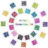 Coussins Encreurs, youlanda 24 couleurs, multicolore, set de coussin encreur pour papier Artisanat plastique, empreintes digitales, scrapbooking, peinture mariage anniversaire pour enfant Les Cadeaux (Autres Coloris)