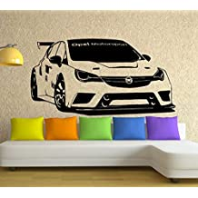 Streetwall Pared Adhesivo Opel Astra TCR 2016, Vinilo, Negro, pequeño