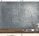 1a PREMIUM Küchennischen Deko-Set für die Küche in Betonoptik - Spritzschutz - Wandschutz - Fliesenspiegel - Wandtatoo - wiederablösbar - Motiv Beton