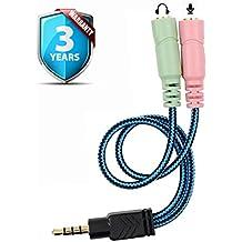 Adaptador Divisor de Auriculares, ENVEL Cable Divisor de Audio Estéreo para auriculares o altavoces, [ Dos 3,5mm Hembra ( Clavijas de Mic y Audio Separadas ) a 3,5mm Macho Clavijas ] para PC  Xbox One S PS4 iPhone Samsung