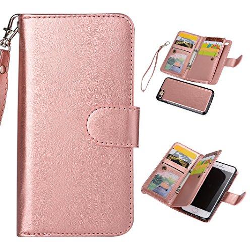 iPhone 6/6S Hülle Leder Case Tasche, Asnlove 2 en 1 Multifunktionshülle Brieftasche Handyhülle im Bookstyle Echt Leder Tasche mit Geldbörse Magnet Kartenfächer Standfunktion Abnehmbare Hintere Schale für iPhone 6/6S (4.7 Zoll),Rose Gold