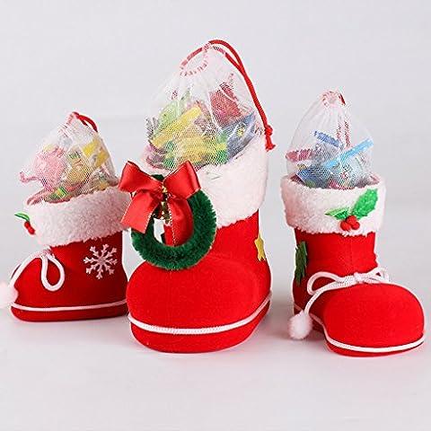 QHGstore Regalos de Navidad Decoraciones de caramelo de los niños Botas Caja de regalo de Santa Claus L