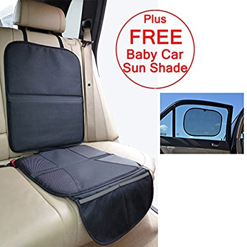 Just Pure Hut Baby Car Seat Protector Mat - Covers Under Child Seat – Leather Saver For Baby Seat – Includes *FREE* Baby Car