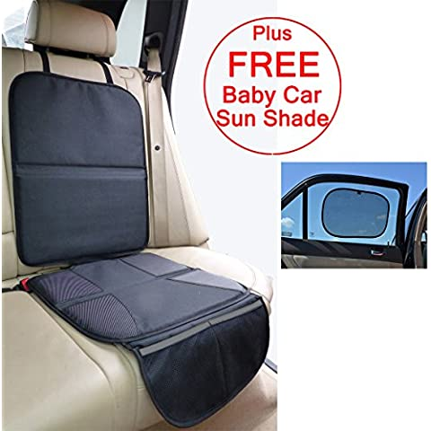 Just Pure Hut - Alfombrilla protectora de asiento de coche para silla de bebé, de piel, incluye parasol