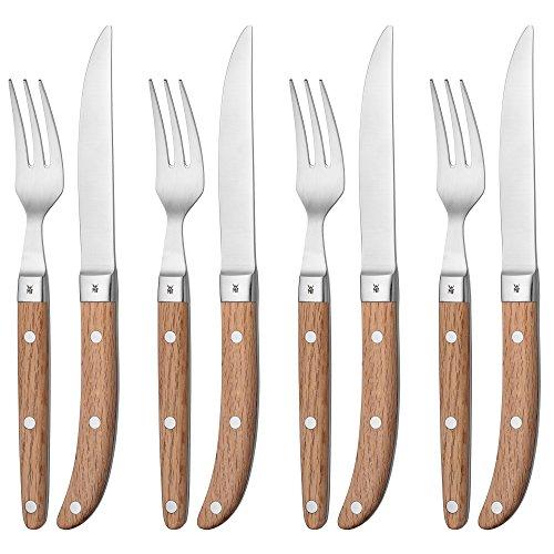 WMF Steakbesteck-Set Ranch 8-teilig Steakmesser Steakgabel Cromargan Edelstahl rostfrei mattiert Eichenholz