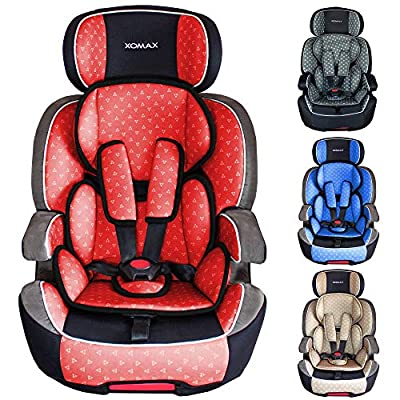 XOMAX XL-518 Child car seat with ISOFIX I growing with your child I 9-36 kg, 1-12 years, group 1/2/3 I 5-point harness and 3-point harness I cover removable and washable I ECE R44/04 I red