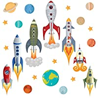 GET STICKING DÉCOR® SPACE WALL STICKERS & ROCKET WALL STICKERS COLLECTION, Rockets Rock.2, Glossy Vinyl, Multi Color. (Medium)