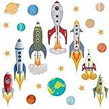 GET STICKING DÉCOR® Weltraum, Weltraumrakete Wandtattoo, Wandsticker Kollektion, Rockets Rock.2, Glänzend Herausnehmbar Vinyl, Multi Farbe. (Medium)