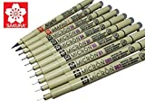 Sakura - Penne ad inchiostro Pigma Micron, set di 8penne a inchiostro pigmentato Asst, 10 pct set Nero