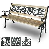 Miadomodo Panca giardino esterno panca in legno con ghisa (design rose)