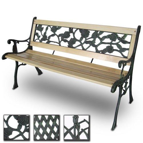 miadomodo-3-seater-wooden-outdoor-garden-bench-with-rose-design