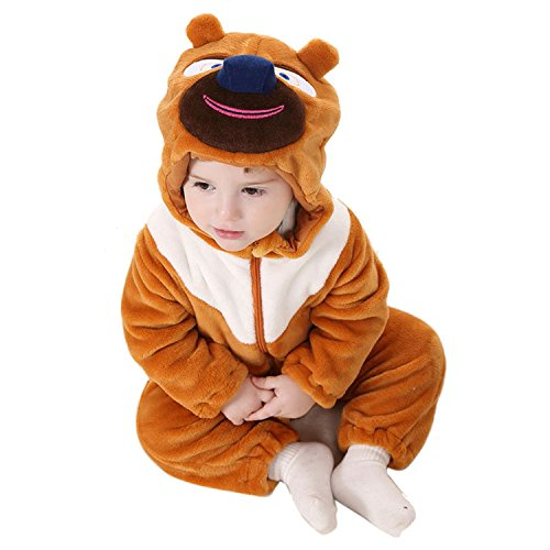 kind Overall Unisex Baby Kinder Homewear Schlafanzug Einteiler Animal Schlafanzüge Strampler für Holloween Weihnachten Party, hellbraun, M For Kid Height 66-73cm ()