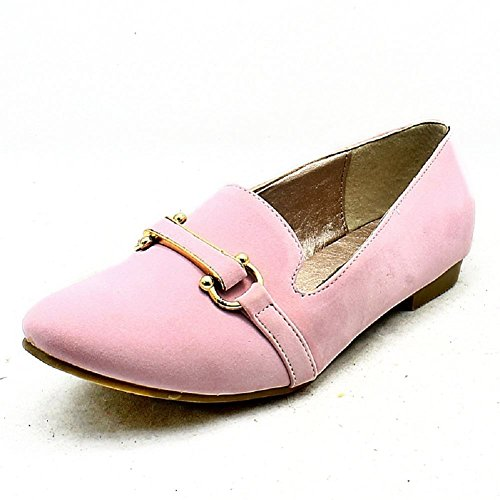 Light Pink suedette flat slipper pumps / shoes with buckle