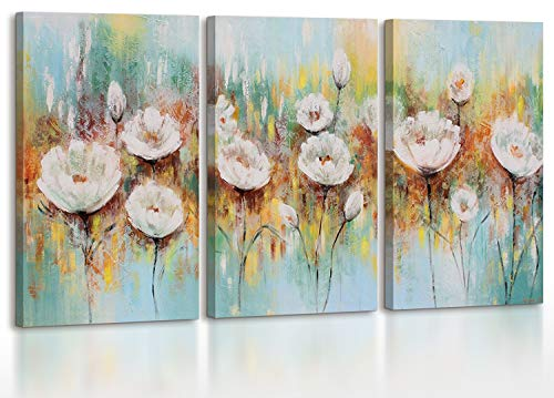 YS-Art Cuadro acrílico Amapolas blancas | Pintado