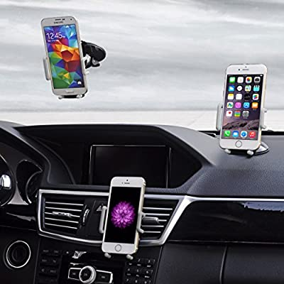 TechToDoor 3 in 1 Universal Mobile Phone Car Mount / Holder - Dashboard/ Air Vent and Windscreen Mount - Keeps your iPhone, Samsung and any other smartphone and GPS Safe and Secure