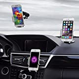 Car Mount / Holder 3 in 1 - TechToDoor 3 in 1 Universal Windscreen Dashboard and Air Vent Car Phone Holder - Universal Adjustable Cradle - Windshield Holder Cradle with Strong Sticky Gel Pad for iPhone 6S/6s Plus/6/6 Plus/5S/5C/SE, Galaxy Note 4/3, Galaxy S5 S6/ S6 Edge/S7/S8 Edge / Nokia / HTC / Sony / Sat Nav / iPod and MP3 Player Bild 2