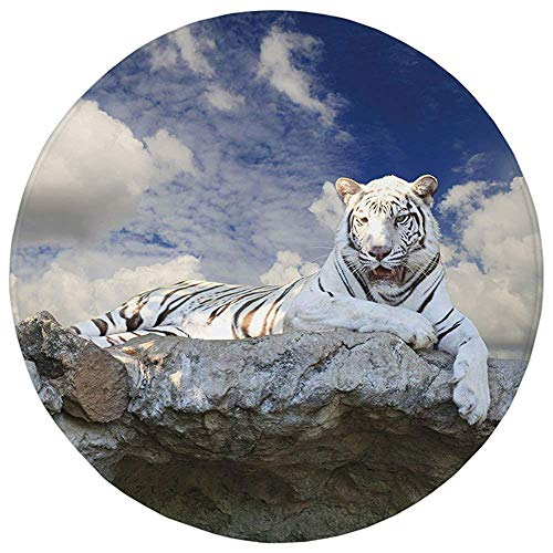 Round Rug Mat Carpet,Tiger,Bengal Hunter Surveying What is Beneath It from Top White Large Feline Decorative,Eggshell Sky Blue White,Flannel Microfiber Non-slip Soft Absorbent,for Kitchen Floor Bathro